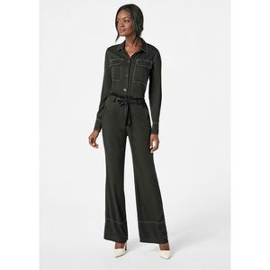 NWT JustFab Contrast Stitch Utility Jumpsuit